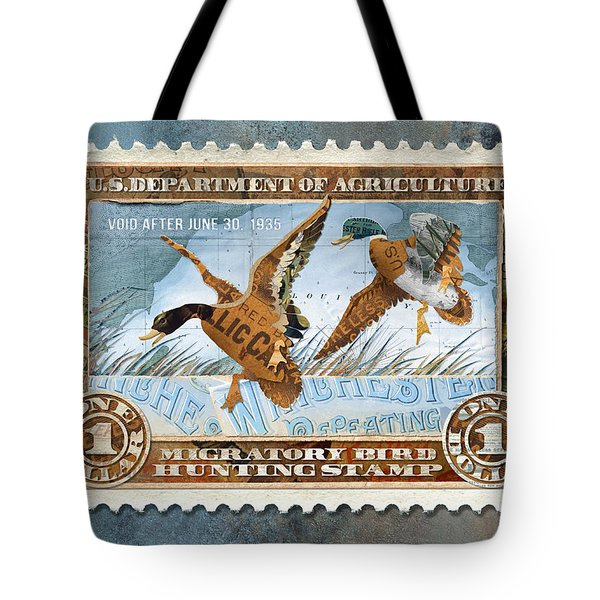 1934 Hunting Stamp Collage Tote Bag
