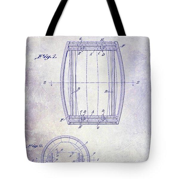 1937 Whiskey Barrel Patent Blueprint Tote Bag