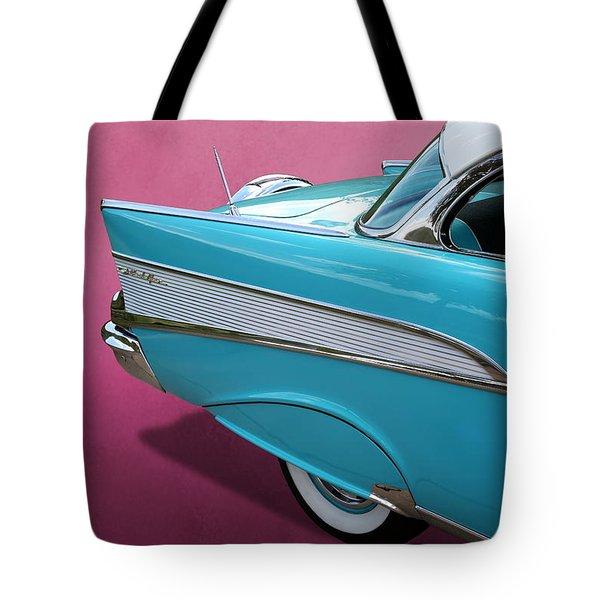 Turquoise 1957 Chevrolet Bel Air Tote Bag