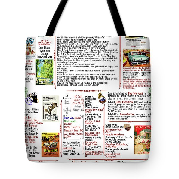 1959 Back In Time Historic Poster, Birthday Present Poster Tote Bag