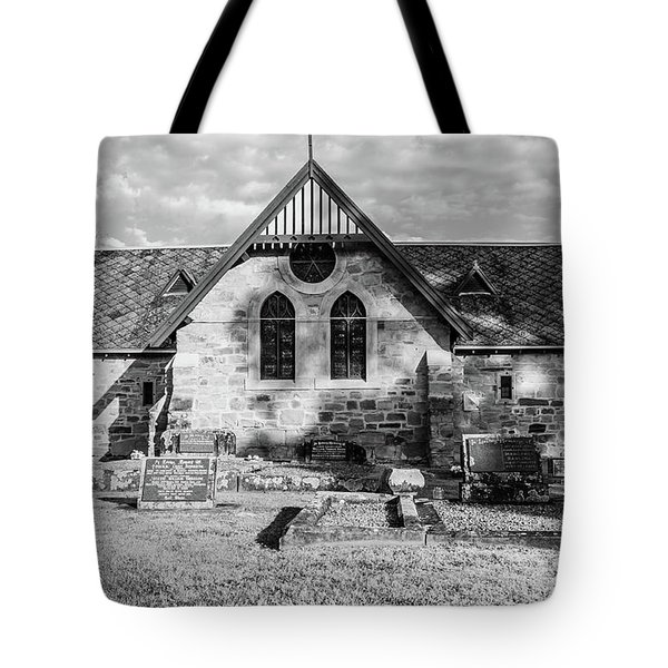 19th Century Sandstone Church In Black And White Tote Bag
