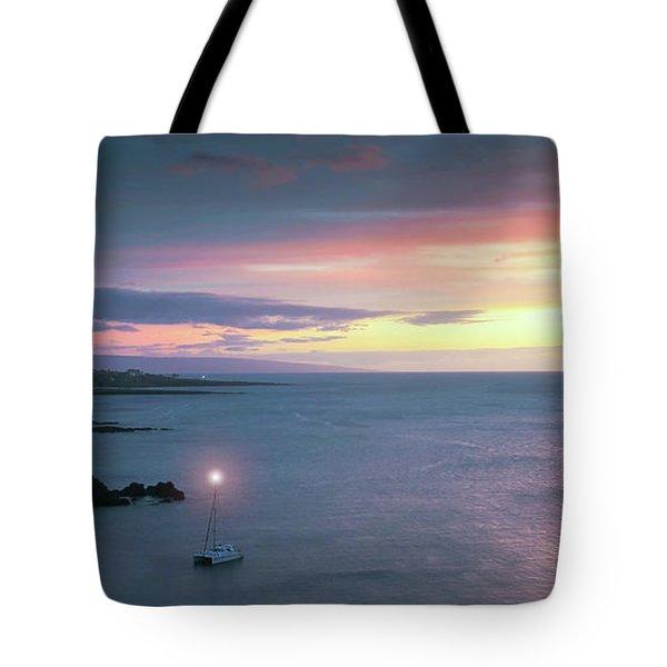 A Catamaran In Honolua Bay At Sunset, Maui, Hawaii Tote Bag
