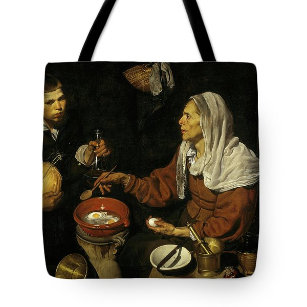 An Old Woman Cooking Eggs Tote Bag