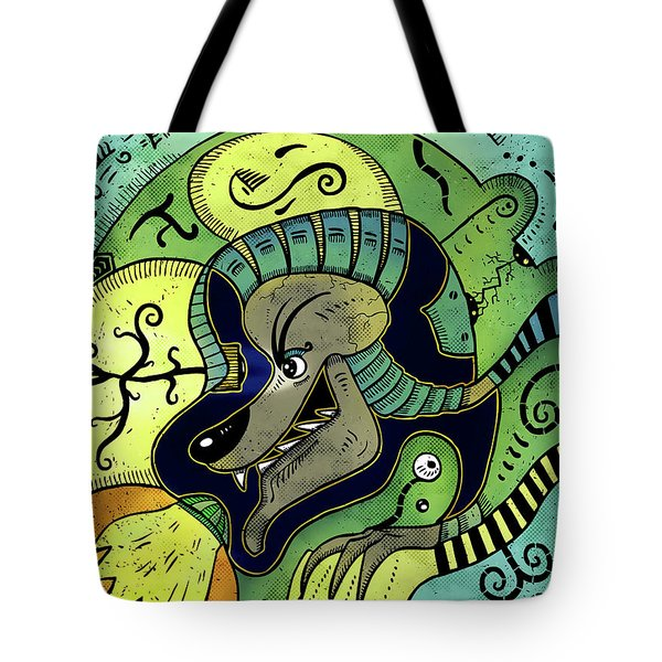Tote Bag featuring the digital art Anubis by Sotuland Art