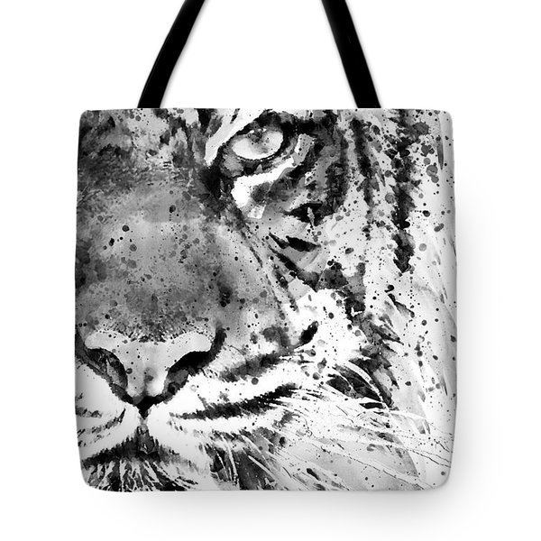 Black And White Half Faced Tiger Tote Bag