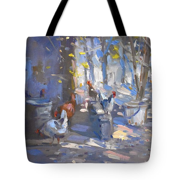 Chickens At Lidas Garden Tote Bag