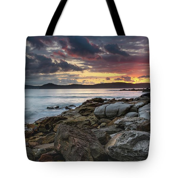 Colours Of A Stormy Sunrise Seascape Tote Bag