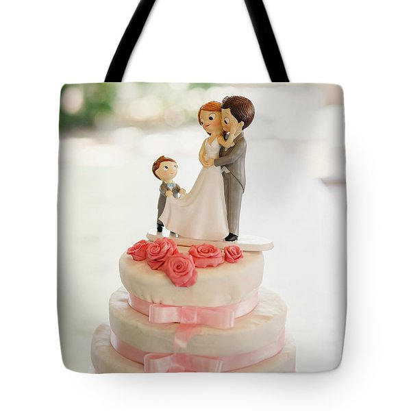 Desserts And Wedding Cake With Very Sweet Cupcakes At An Event. Tote Bag