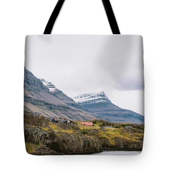 High Icelandic Or Scottish Mountain Landscape With High Peaks And Dramatic Colors Tote Bag
