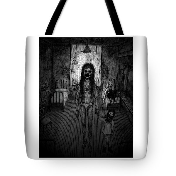 Tote Bag featuring the drawing Jessica And Her Broken Doll - Artwork by Ryan Nieves
