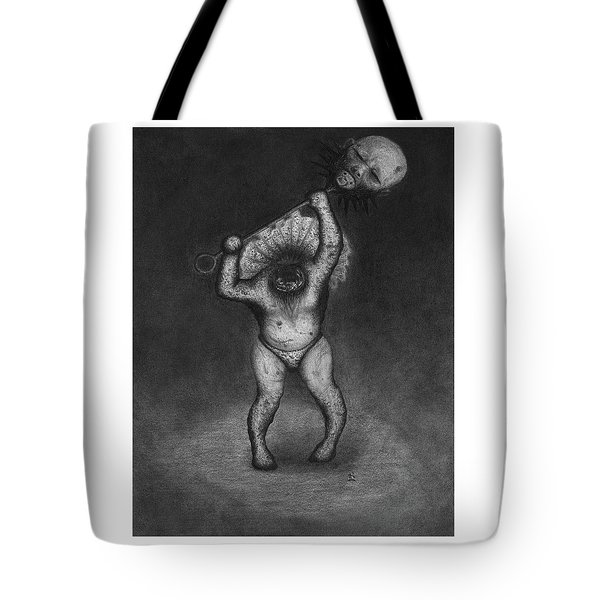 Tote Bag featuring the drawing Nightmare Rattler - Artwork by Ryan Nieves