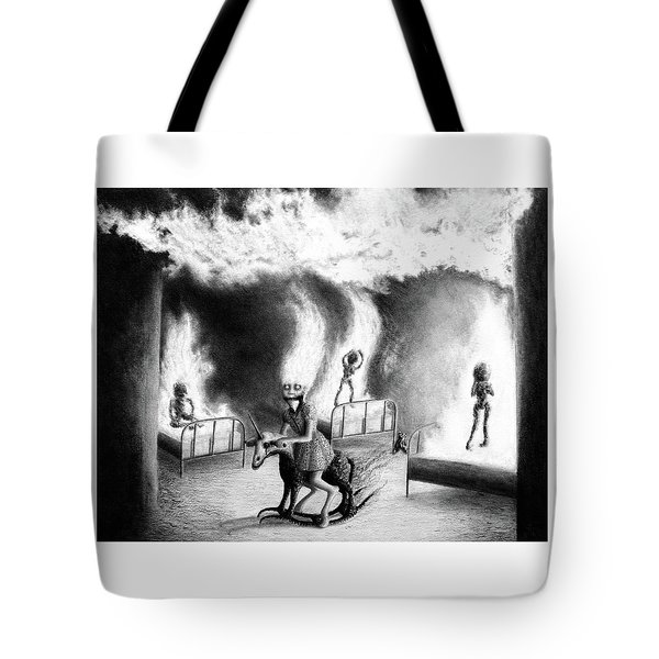 Tote Bag featuring the drawing Philippa The Crackling Rider - Artwork by Ryan Nieves