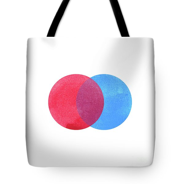 2 Primary Colors, Blue Red Watercolor Painting Circle Round On W Tote Bag