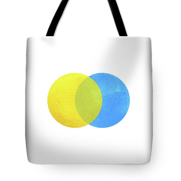 2 Primary Colors, Blue Yellow Watercolor Painting Circle Round O Tote Bag