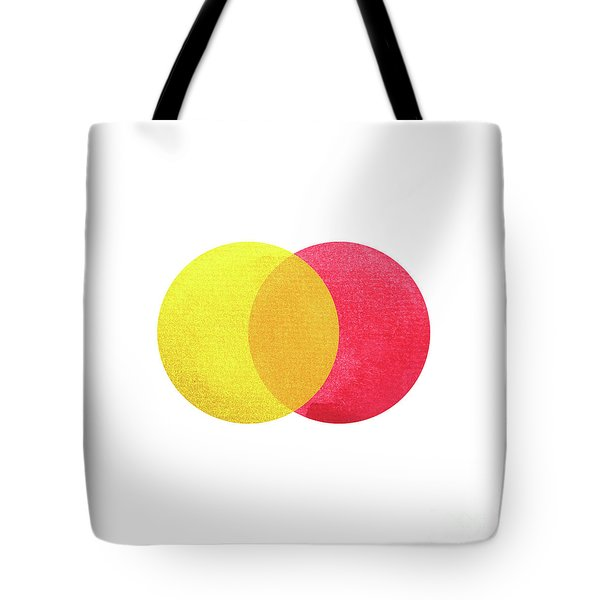 2 Primary Colors, Red Yellow Watercolor Painting Circle Round On Tote Bag