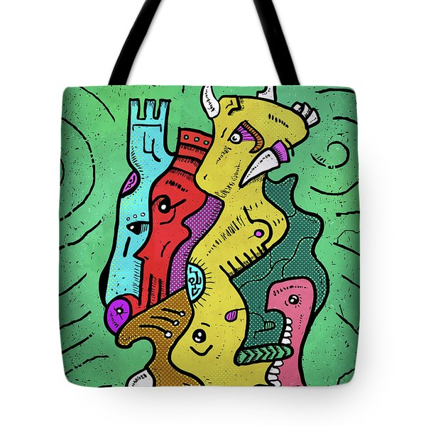 Tote Bag featuring the digital art Psychedelic Animals by Sotuland Art