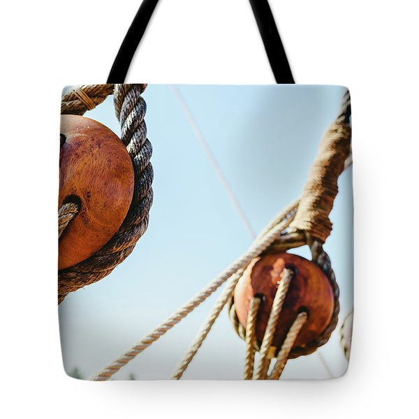 Rigging And Ropes On An Old Sailing Ship To Sail In Summer. Tote Bag