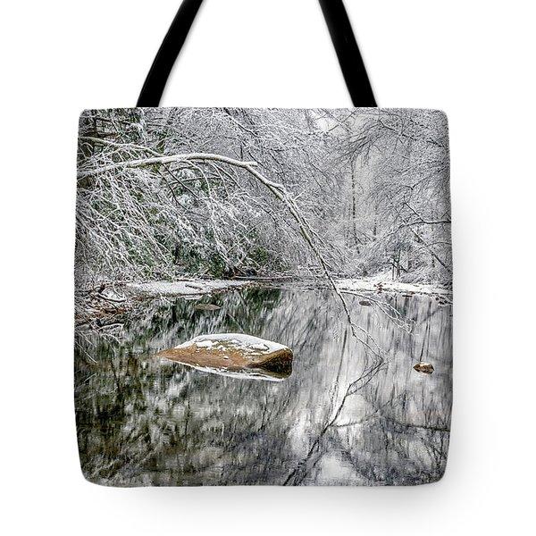 Snow Along Cranberry River Tote Bag
