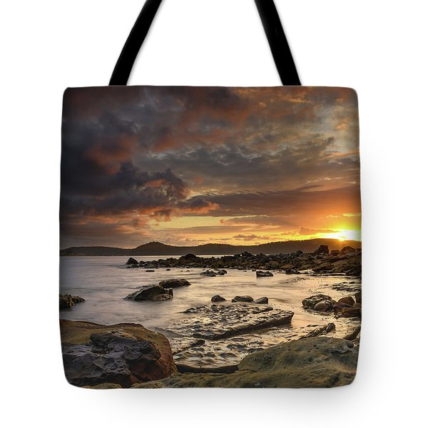 Stormy Sunrise Seascape Tote Bag