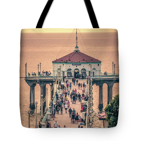 Tote Bag featuring the photograph Sunset On Huntington Beach California by Alex Grichenko