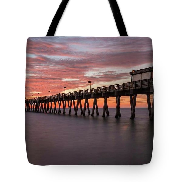Tote Bag featuring the photograph Venice Pier Sunset by Paul Schultz