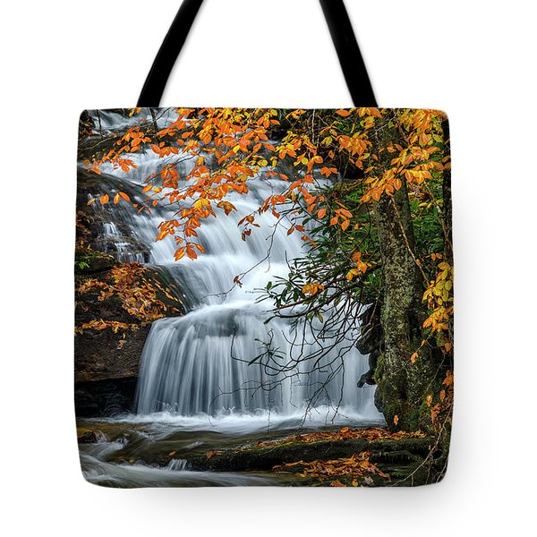 Waterfall And Fall Color Tote Bag