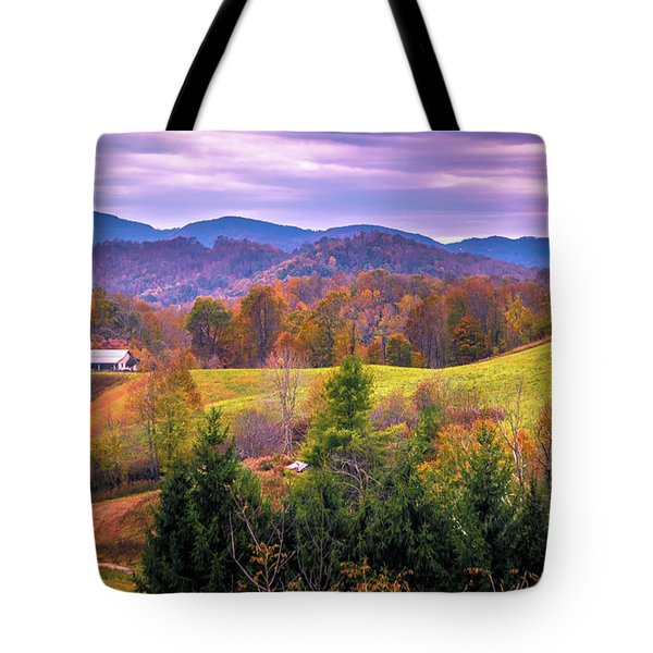 Tote Bag featuring the photograph Autumn Season And Sunset Over Boone North Carolina Landscapes by Alex Grichenko
