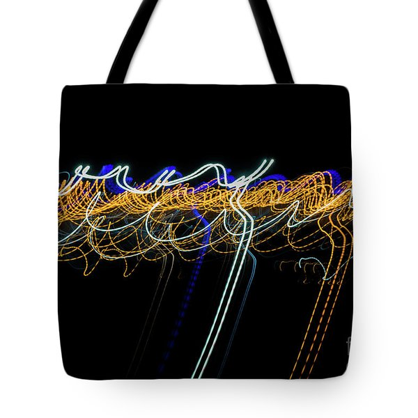 Colorful Light Painting With Circular Shapes And Abstract Black Background. Tote Bag