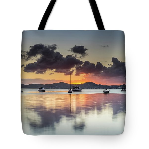 Overcast Morning On The Bay With Boats Tote Bag