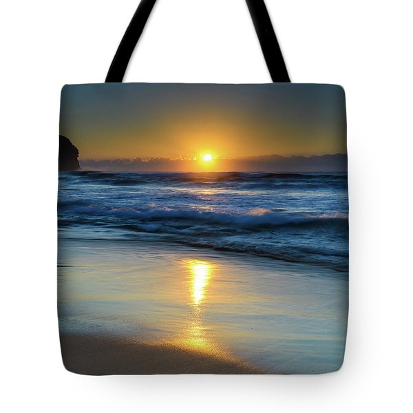 Sunrise Lights Up The Sea Tote Bag