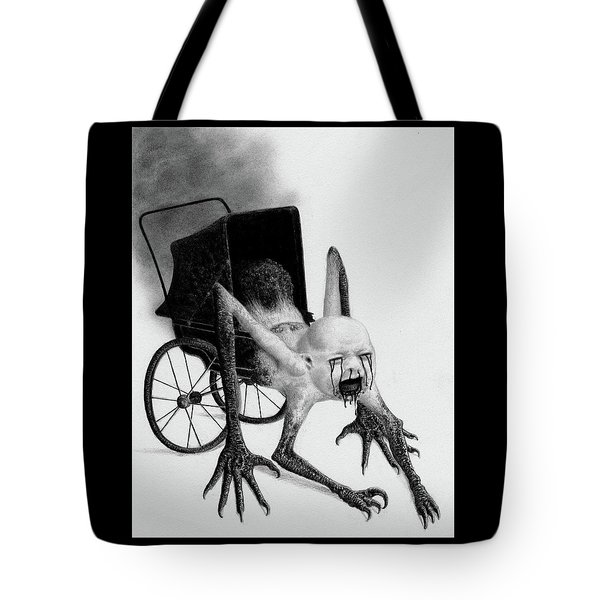 Tote Bag featuring the drawing The Nightmare Carriage - Artwork by Ryan Nieves