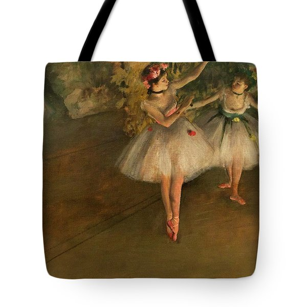 Two Dancers On A Stage Tote Bag