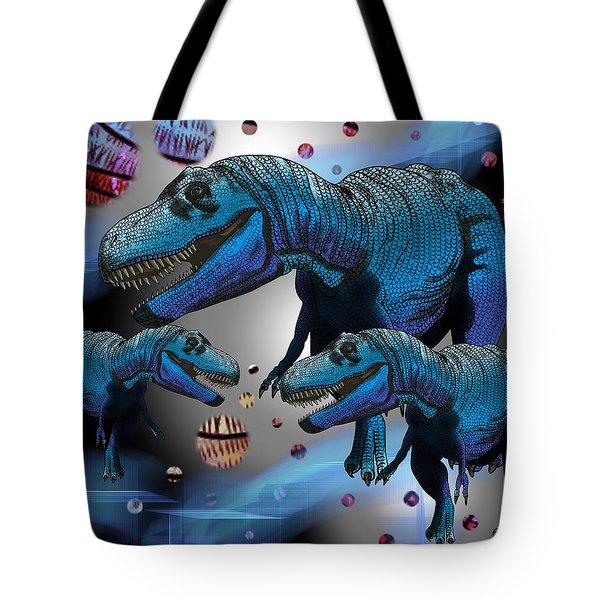 Tyrannosaurus Three Moons Tote Bag
