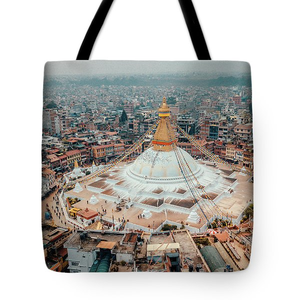 Stupa Temple Bodhnath Kathmandu, Nepal From Air October 12 2018 Tote Bag