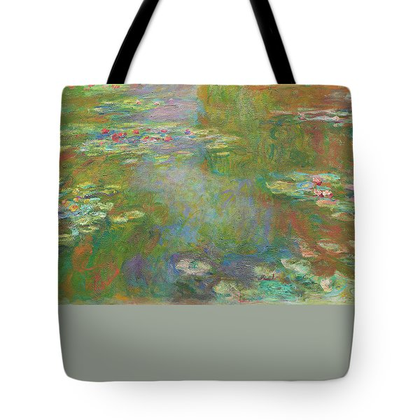 Tote Bag featuring the digital art Water Lily Pond by Claude Monet
