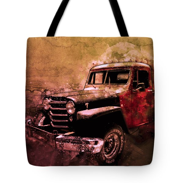 51 Willys Jeep 4x4 Pickup Ridge Running Before Dark Tote Bag