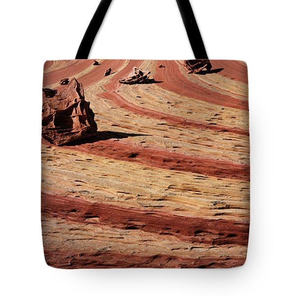 High Angle View Of Rock Formations Tote Bag