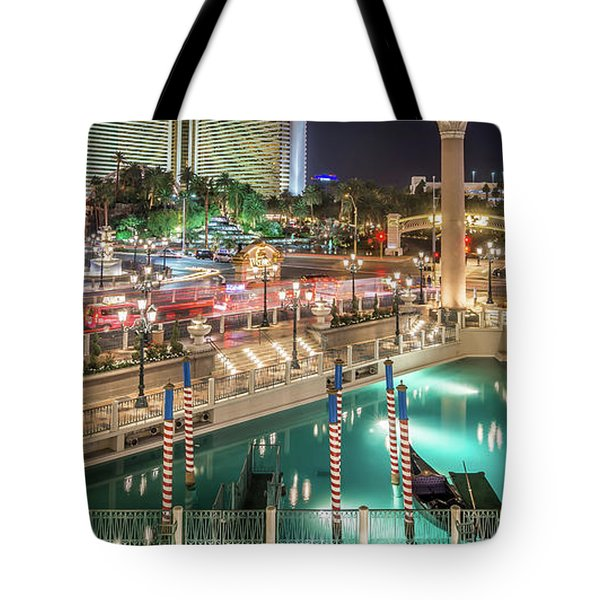 Tote Bag featuring the photograph View Of The Venetian Hotel Resort And Casino by Alex Grichenko