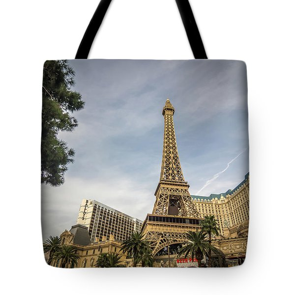 Tote Bag featuring the photograph View On The Replica Of Eiffel Tower At Paris Hotel   by Alex Grichenko