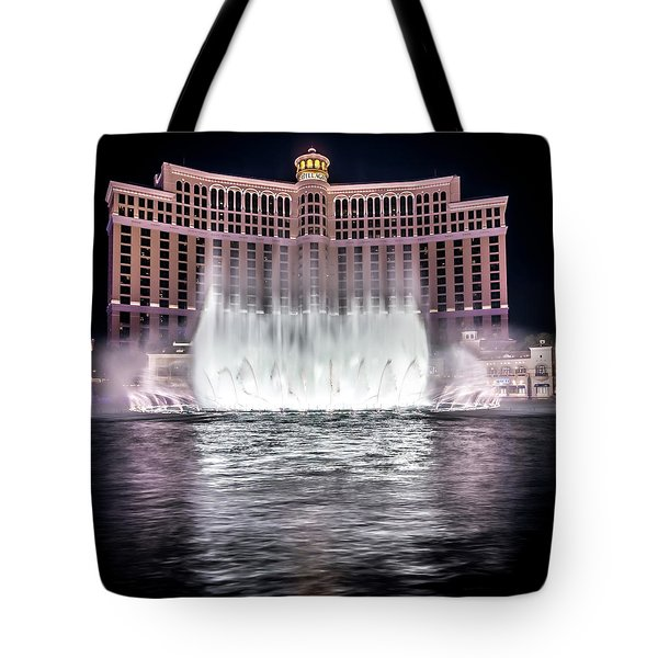 Tote Bag featuring the photograph World Famous Fountain Water Show In Las Vegas Nevada by Alex Grichenko
