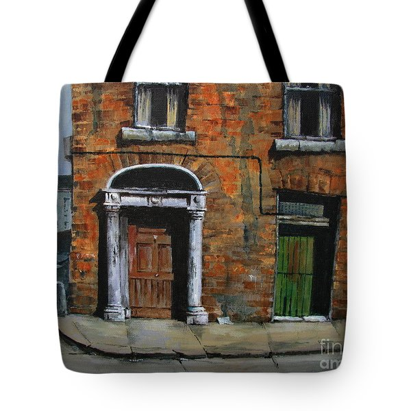 Tote Bag featuring the painting 775 Decaying Elegance In The Liberties, Dublin by Val Byrne
