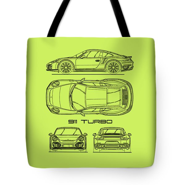911 Turbo 991 Blueprint Tote Bag