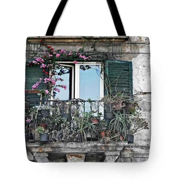 Tote Bag featuring the photograph A Balcony In Palermo by David Birchall