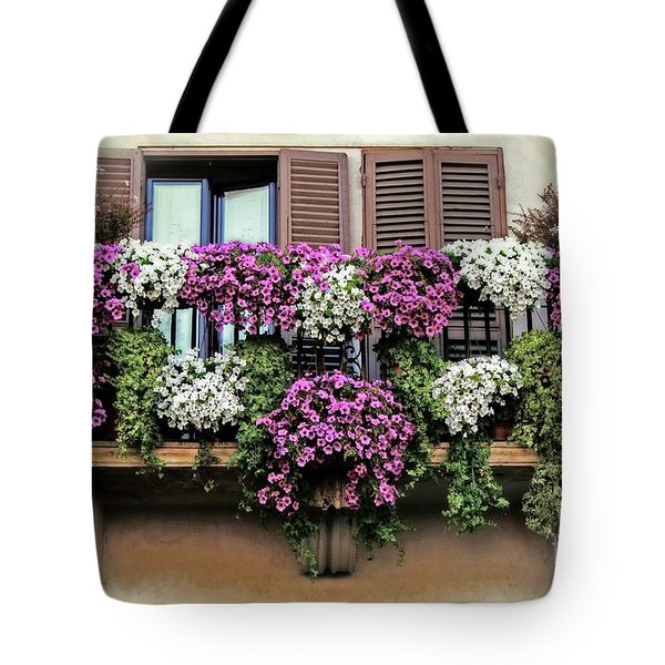 Tote Bag featuring the photograph A Balcony In Rome by David Birchall