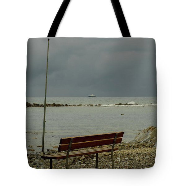 A Bench On Which To Expect, By The Sea Tote Bag