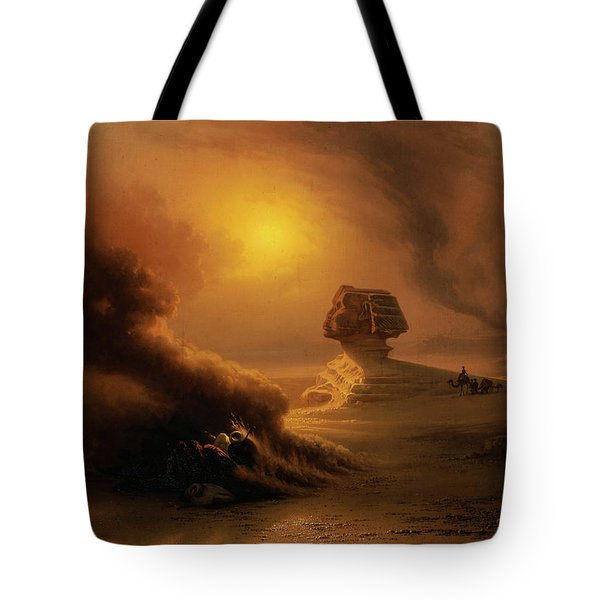 A Caravan Surprised By The Samoom In Front Of The Sphinx, 1849 Tote Bag