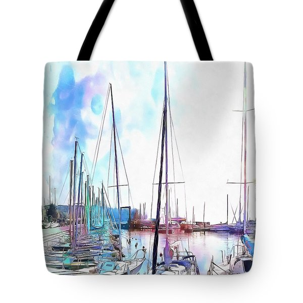 Tote Bag featuring the photograph A Color Wash Of Boats by Dorothy Berry-Lound