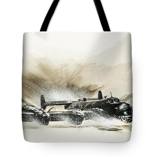 A Crippled Halifax Bomber Lands On The Ice Tote Bag