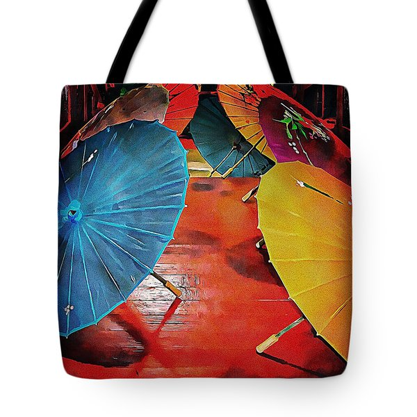 Tote Bag featuring the photograph A Crowd Of Parasols by Dorothy Berry-Lound
