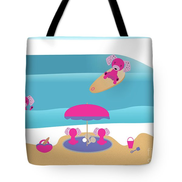 A Dog Family Surf Day Out Tote Bag